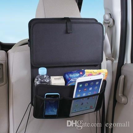 Auto Back Car Seat Organizer With Food Tray Table Durable Oxford Fabric Multi-function Foldable Travel Storage Bag