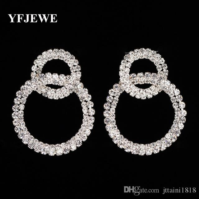 c85ec6d0b YFJEWE Fashion Round Drop Earrings Silver Plated Austrian Crystals Women  Earrings Jewelry Brinco Party Accessories Gift E382 Round Drop Earrings  Long ...
