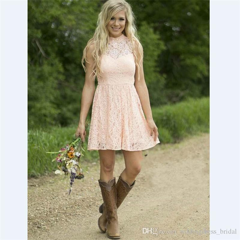 Modern Country Western Full Lace Peach Short Bridesmaid Dresses 2019 Sleeveless High Neck Wedding Party Dress Formal Prom Gowns Cheap Price