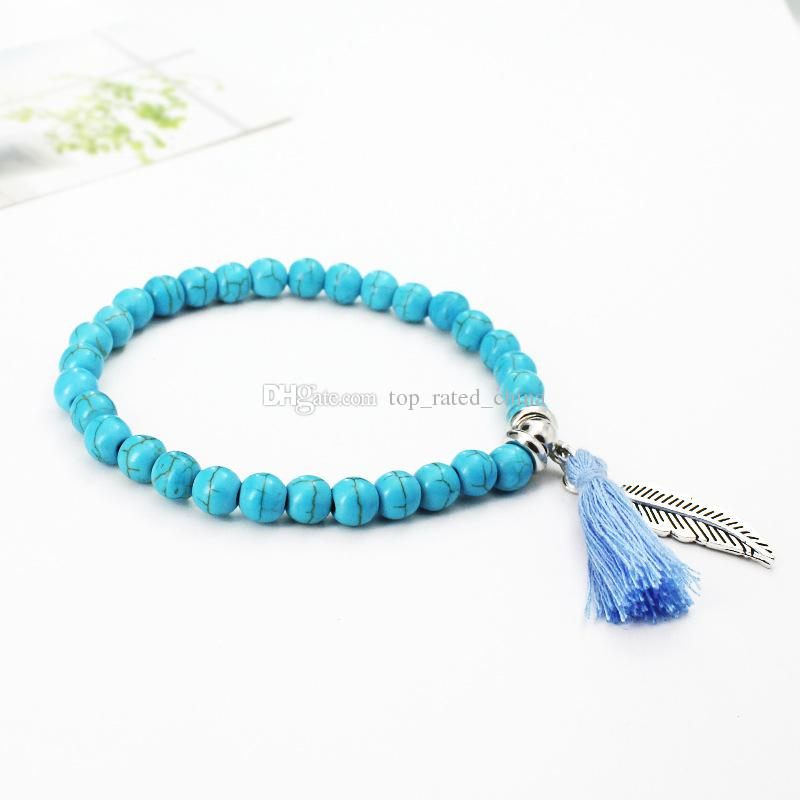 Fashion turquoise bead tassel leaf feather charm pendant stretchy bracelet for women lady cheap jewelry B0774