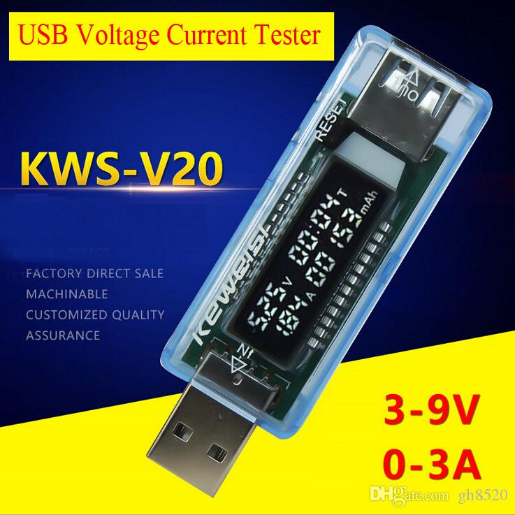 USB Voltage Tester Current Detector Volt Current Doctor Charger Capacity Tester Power Bank Meter KEWEISI KWS-V20 Test Ammeter Voltmeter