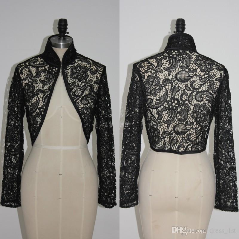 2019 2017 Black Lace Long Sleeve Bridal Bolero Jacket For