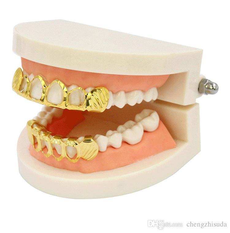 New Gold Argent creux ouvert Dlampnd Cut 6 dents Top Grils fond des dents Caps dents HipHop GRILLZ Set Party Bijoux