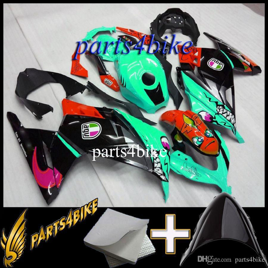 ABS Fairing for Kawasaki ZX300R EX300 13 14 EX300 2013 2014 13-14 Aftermarket blue yellow black Motorcycle Body Kit