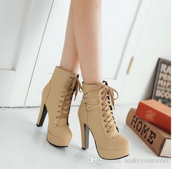 Foreign trade winter fashion new Martin boots round head retro belt buckles ultra high heel boots 319