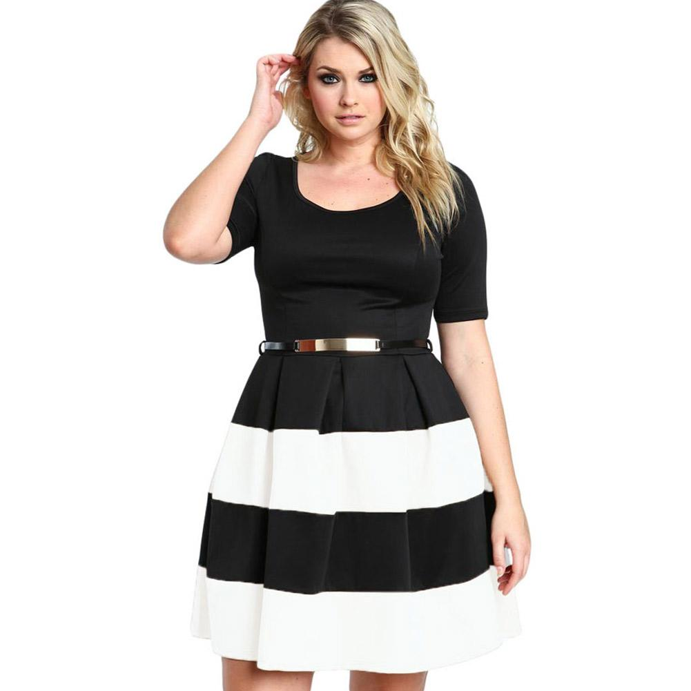 2018 Women Work Wear Short Sleeve A Line Burgundy Stripes Detail