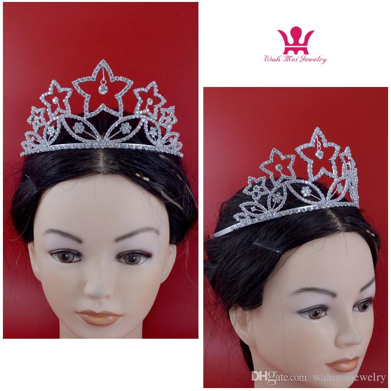 Сияющие звезды театрализованное короны горный хрусталь расческа волос аксессуары Подарок для женщины партии свадебные диадемы девушки заставки 02309