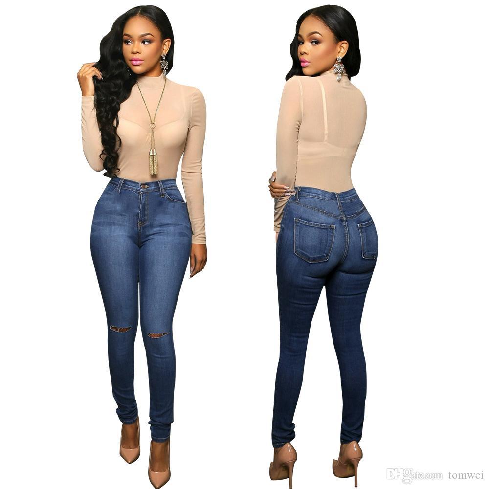 2017 Skinny Jeans Holes Trousers Womens Long Pants Ladies Denim ...