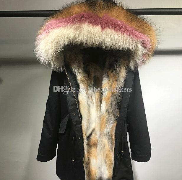 2018 New Arival 2018 Mr & Mrs Ladies Long Furs Parkas Red Fox Fur ...