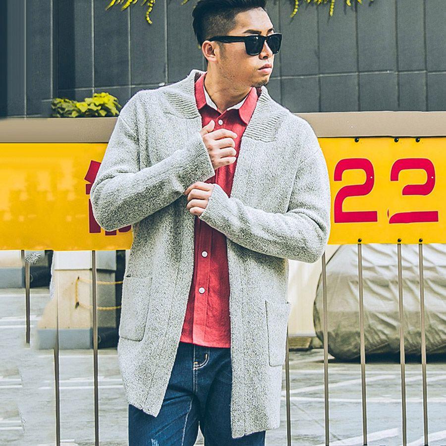Plusee Erkekler Kazak Hırka Mavi Artı Boyutu Rahat 2017 Bahar Örgü Moda Gevşek Cep Gri Triko 4XL 5XL Erkekler Kazak