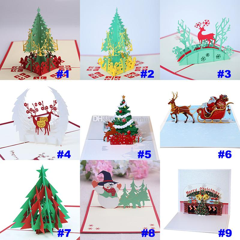 9 Design Christmas Card 3D Pop Up Greeting Card Christmas Tree Bell Party Invitations Paper Card Personalized Keepsakes Postcards WX9-130