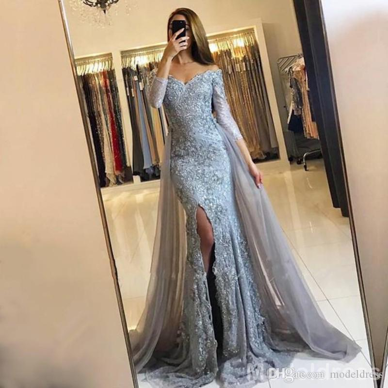 New Split Mermaid Lace Prom Kleider 2019 Long Sleeves Appliques Perlen Sweep Zug Sexy OverSkirts Abend Party Kleider Vestidos Günstige Custom