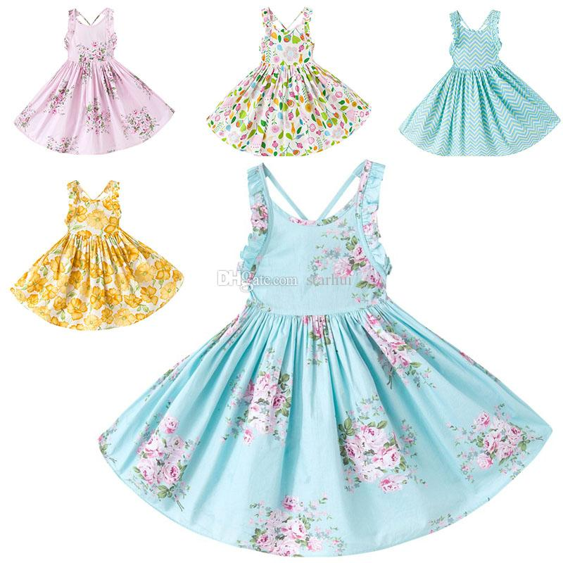 2018 Fashion Girls Printed Floral Dress Children Tank Cotton ...