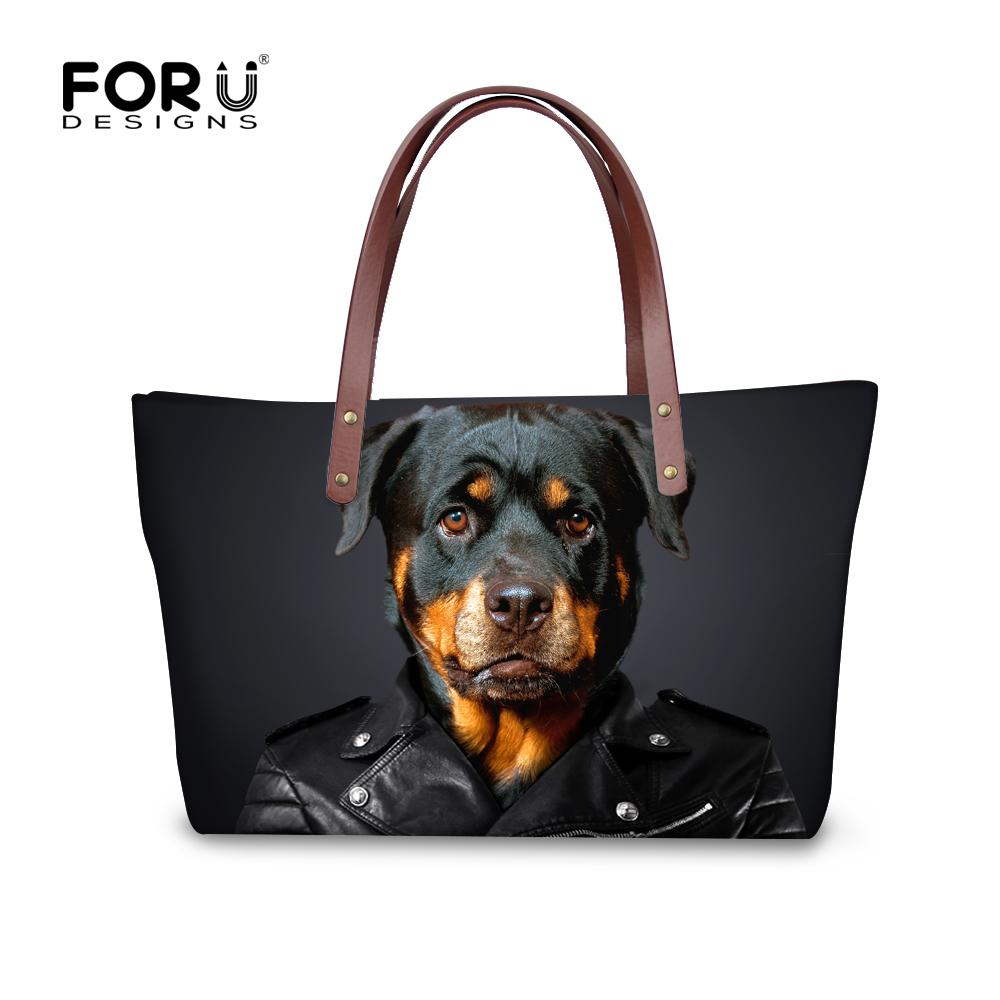 efd7d3ca9fc3 Wholesale-Rottweiler Pug Dog Women Handbags Casual Large Women's Shoulder  Bag Famous Brand Top-handle Bags High Quality Animal Tote Purse