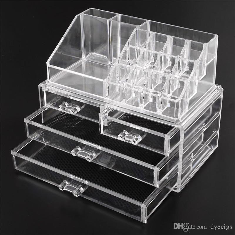 acrylic cosmetic makeup organizer jewelry display boxes bathroom storage case set w 4 large drawers cheap cosmetics cosmetic company outlet from dyecigs