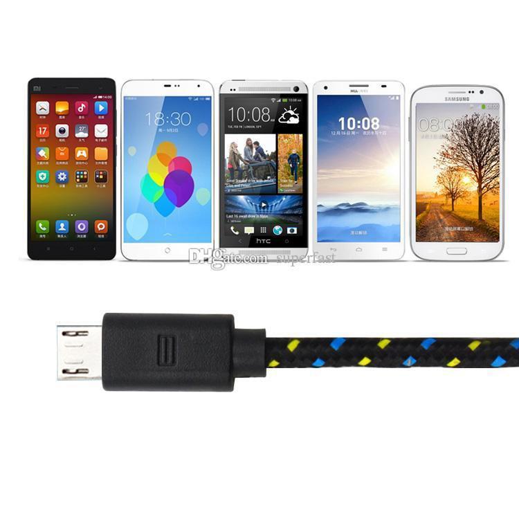 3 M / 10FT USB para USB C Cabo de Dados de Sincronização de Carregamento Micro USB Cabo Para Celular Android sem Pacote