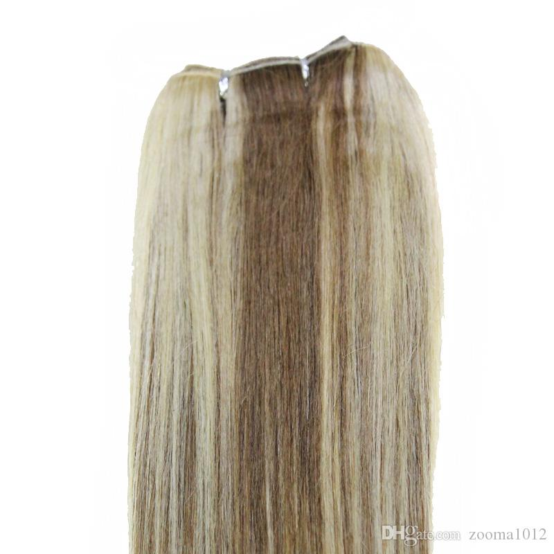 100 Body Wave Human Remy Hair Extensions P27 / 613 P8 / 613 P10 / 24 P18 / 613 Brasiliansk Piano Färg Straight Weaving Weft 18