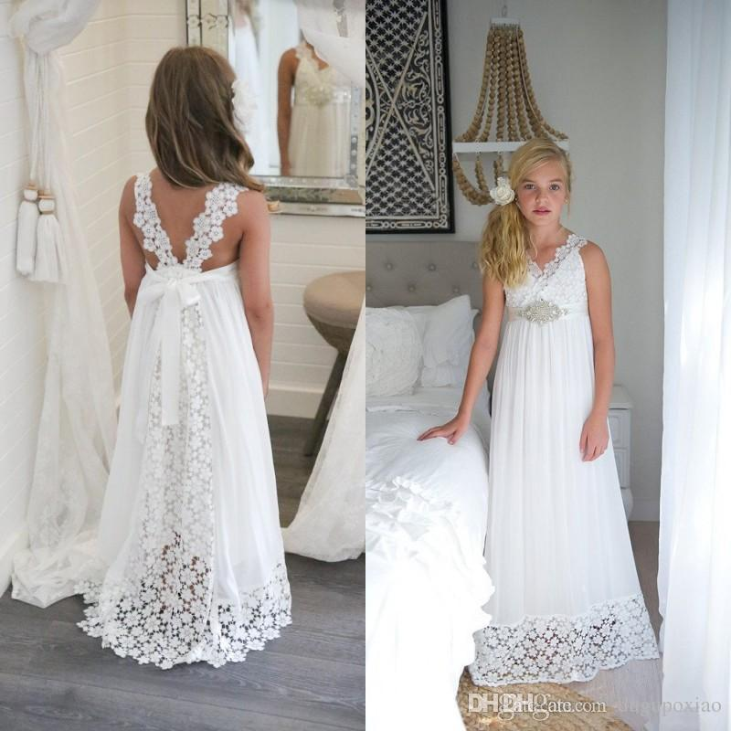 2017 White Communion Flower Girls Dresses For Weddings Beach Party V ...