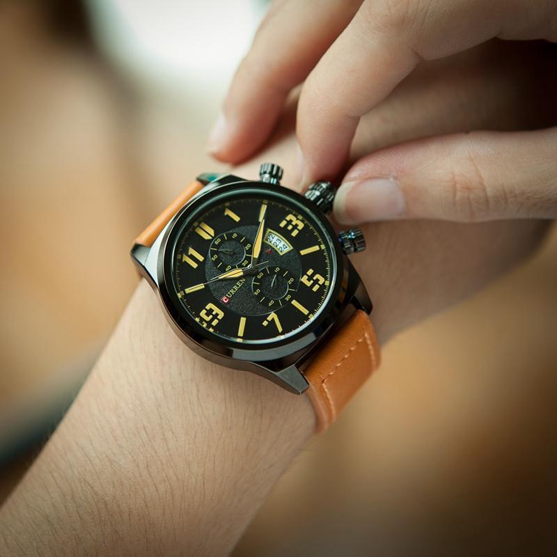 a8e5ab05bab Compre Curren 8200 Homens Relógios Top Marca De Luxo Mens Militar Relógios  De Pulso De Couro Homem Sports Watch Relogio À Prova D  água De ...