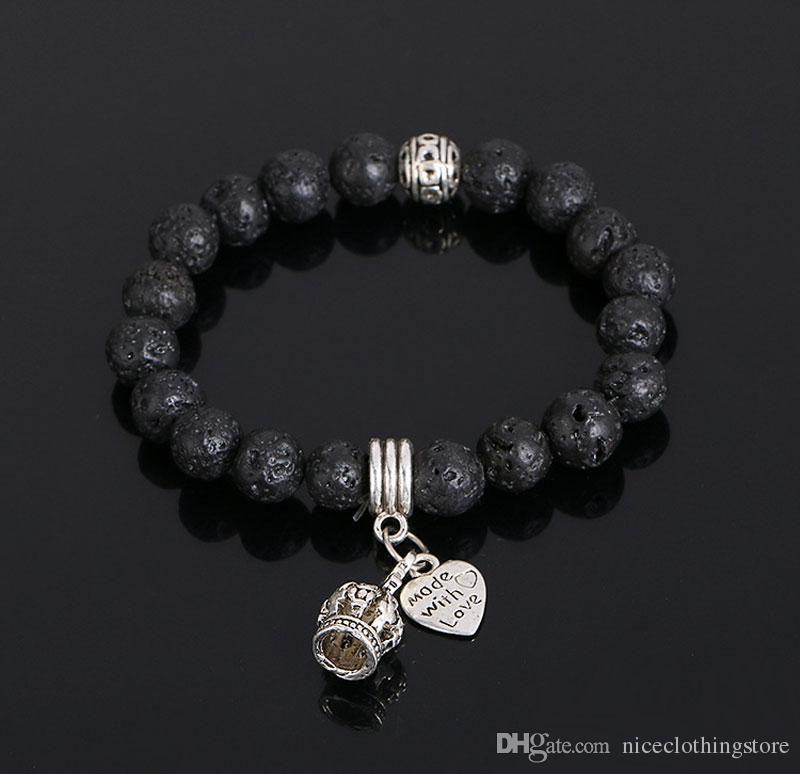 Fashion King Crown Charm Bracelets Lava Rock Natural Stone Bead Bracelets For Women Men Punk Jewelry