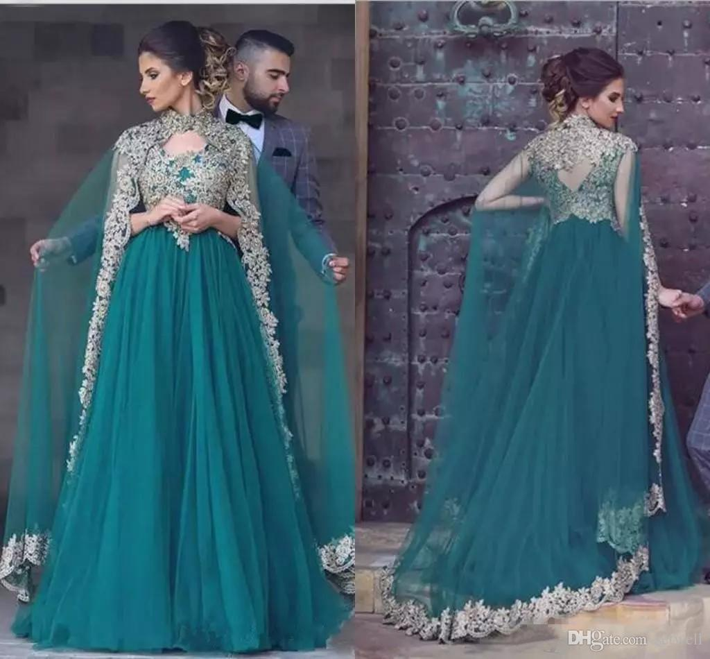 New Hunter Green Arabic Evening Dresses Appliqued Lace High Neck Prom Gown Indian Custom Made Party Dress With Cape