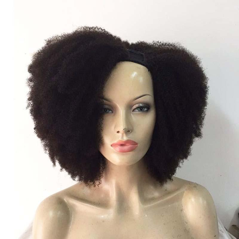 Afro Kinky Curly U Part Human Hair Wigs For Black Women 180% High Density Peruvian Virgin Hair Middle Left Right U Part Wigs