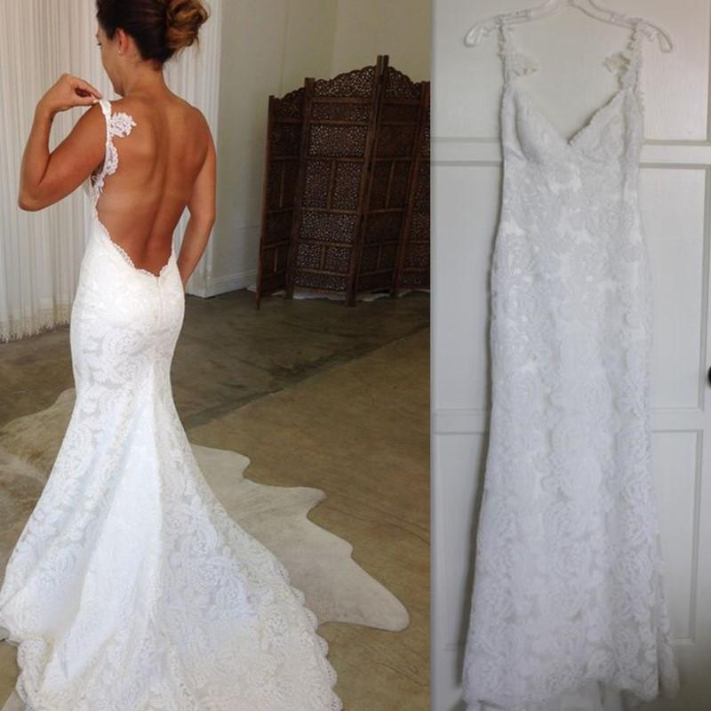 2017 Backless Wedding Dresses Lace Spaghetti Straps Mermaid Bridal ...