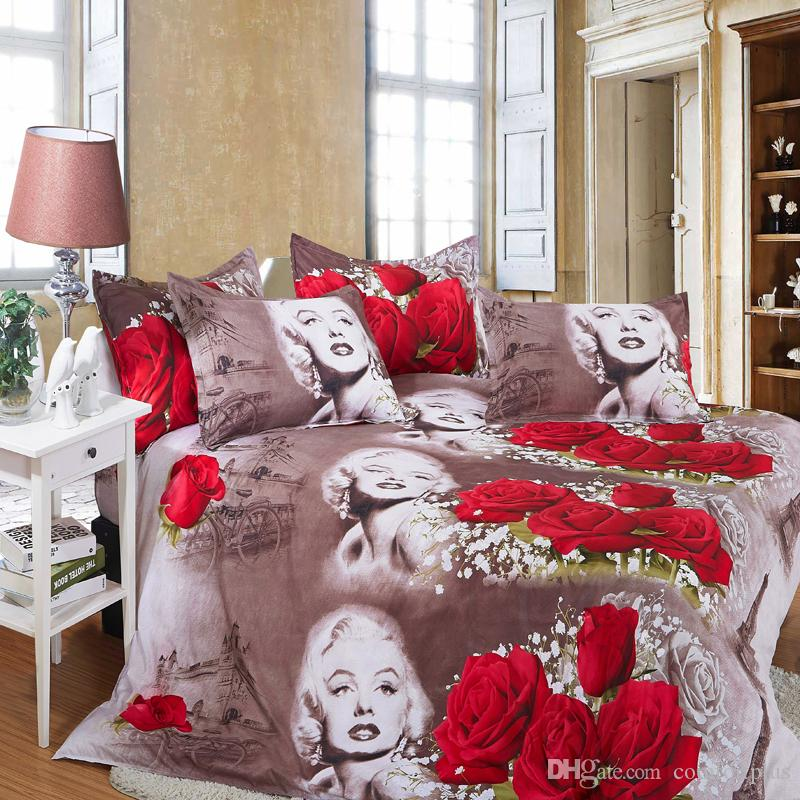 3D Marilyn Monroe Rose Bedding Set 4PC Duvet Cover Set Quilt Cover Bed Sheet Pillowcase Twin Full/Queen King Size