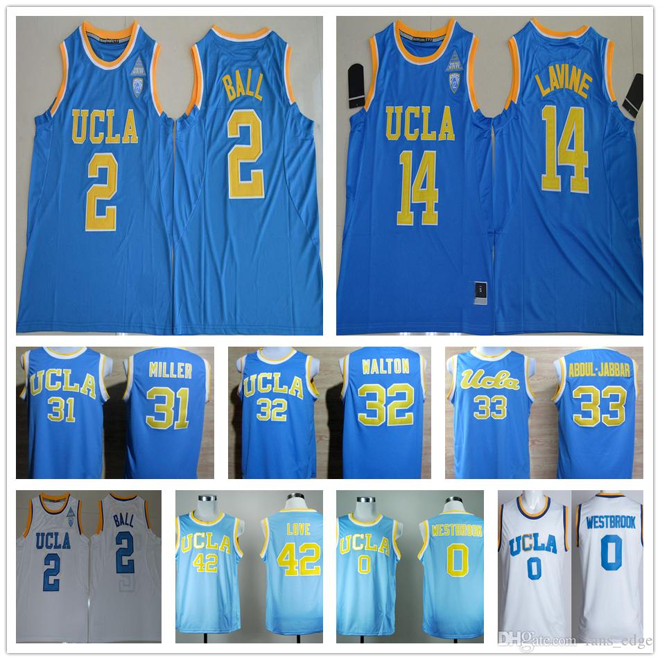 3b4c7470d7d 2019 NCAA UCLA Bruins 2 Lonzo Ball 14 Zach LaVine 32 Walton 42 Kevin Love  31 Reggie Miller 0 Russell Westbrook College Basketball Jersey From  Fans_edge, ...