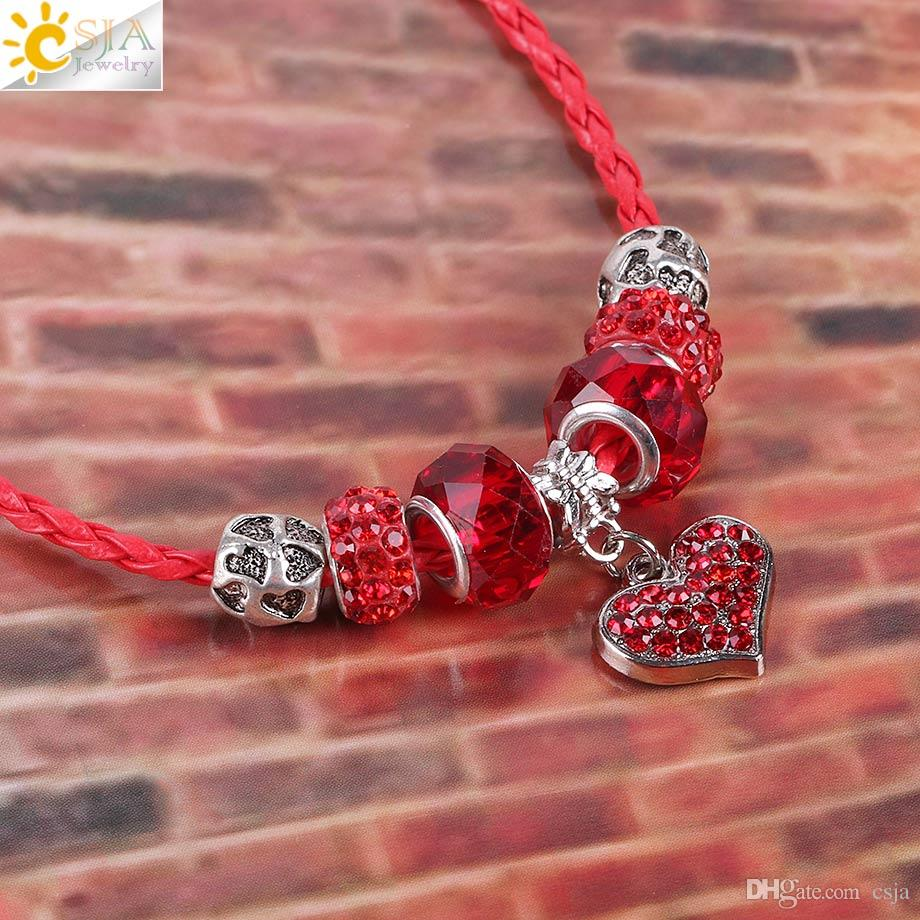 CSJA Red Weaving Braid Leather Cord Choker Necklace Lover Sparkling Love Heart Pendant Crystal CZ Beads DIY Christmas Valentine Jewelry E711