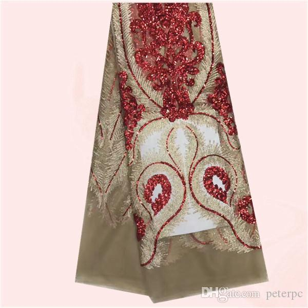 Últimas prendas de vestir tela de tul africano tela de encaje neto francés con lentejuelas shinning GN91 5 yardas / porción de varios colores