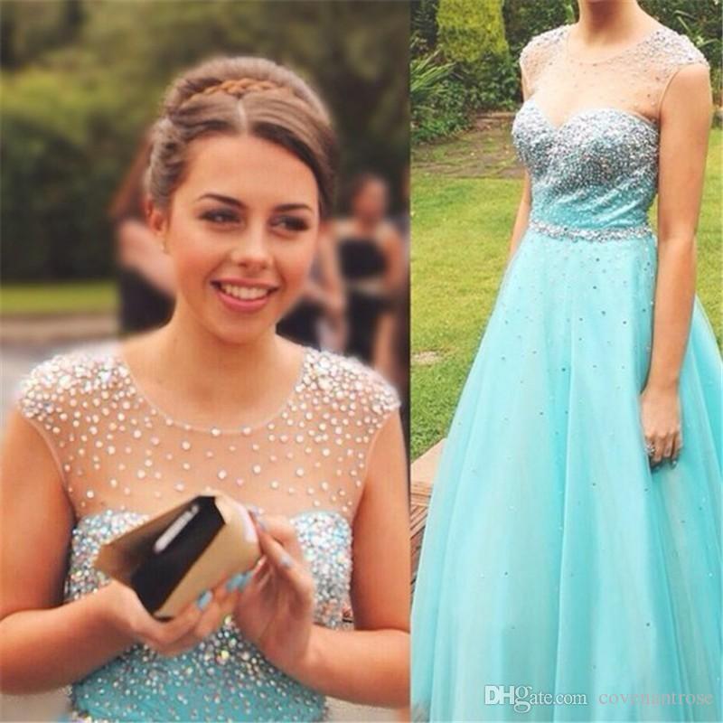 Modest Turquoise Prom Dresses Long Bling Crystal Aqua Party Dress for Teens Cap Sleeve Custom Made Tulle vestido de festa Evening Gowns