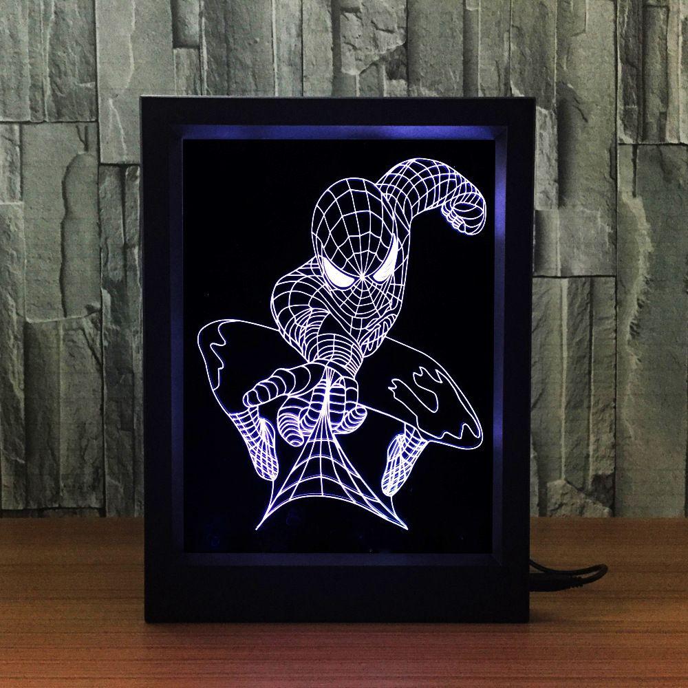 3D Spiderman LED Photo Frame IR Remote 7 RGB Lights Battery or DC 5V Factory Wholesale Dropship