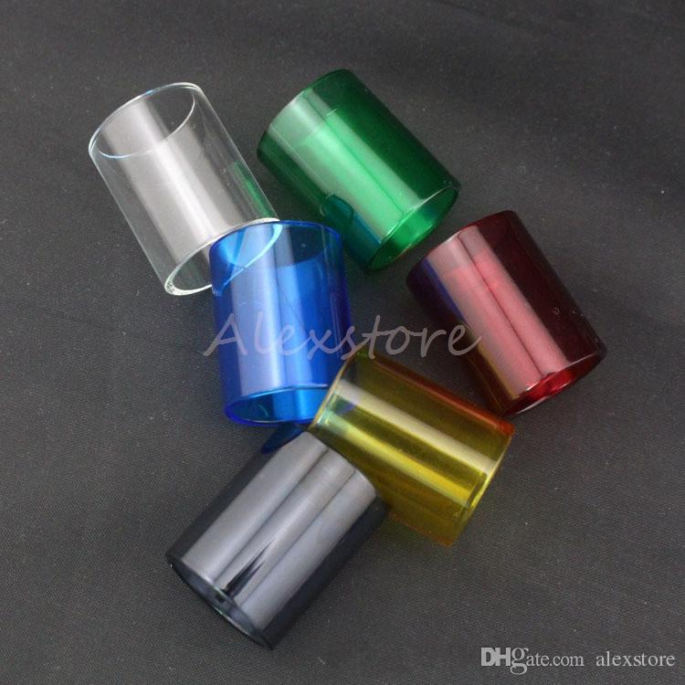 Glass Tube for TFV8 Big BABY Coil Pyrex Replacement Colorful Replaceable Caps Sleeve Tube for TFV8 Big BABY Tank Atomizers RBA Vape DHL