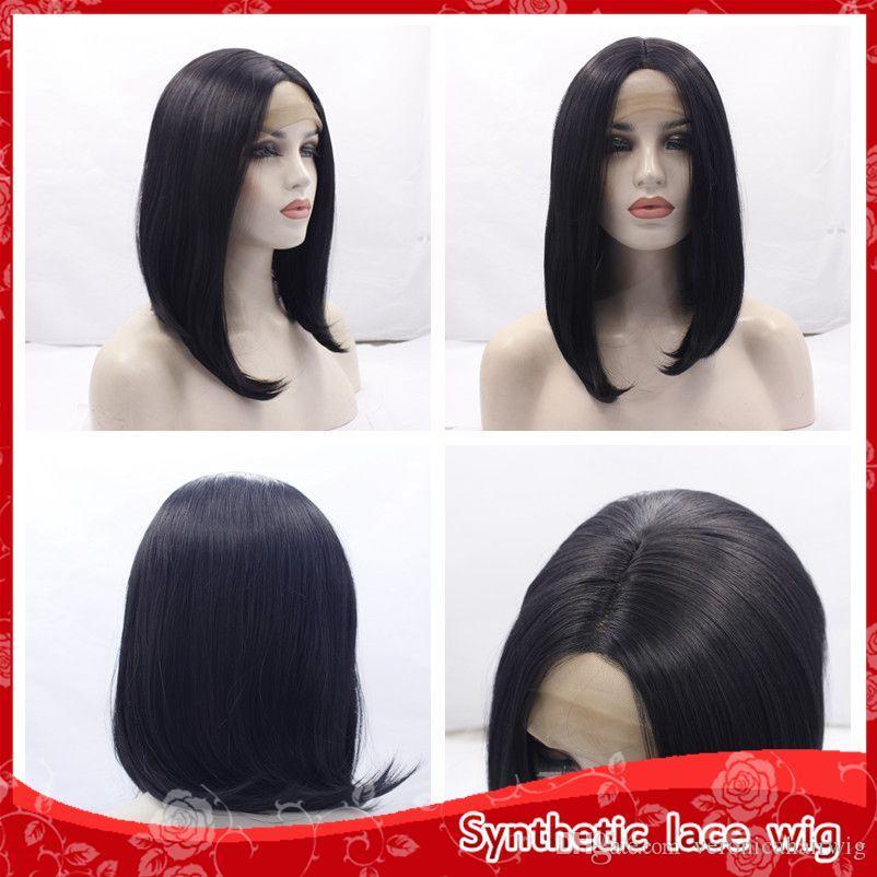 Siyah Kadınlar için üst Satış Kısa Düz Bob Peruk Sentetik Dantel Ön Peruk bebek saç ile Isıya Dayanıklı Brezilyalı Moda Stil 12 Inç
