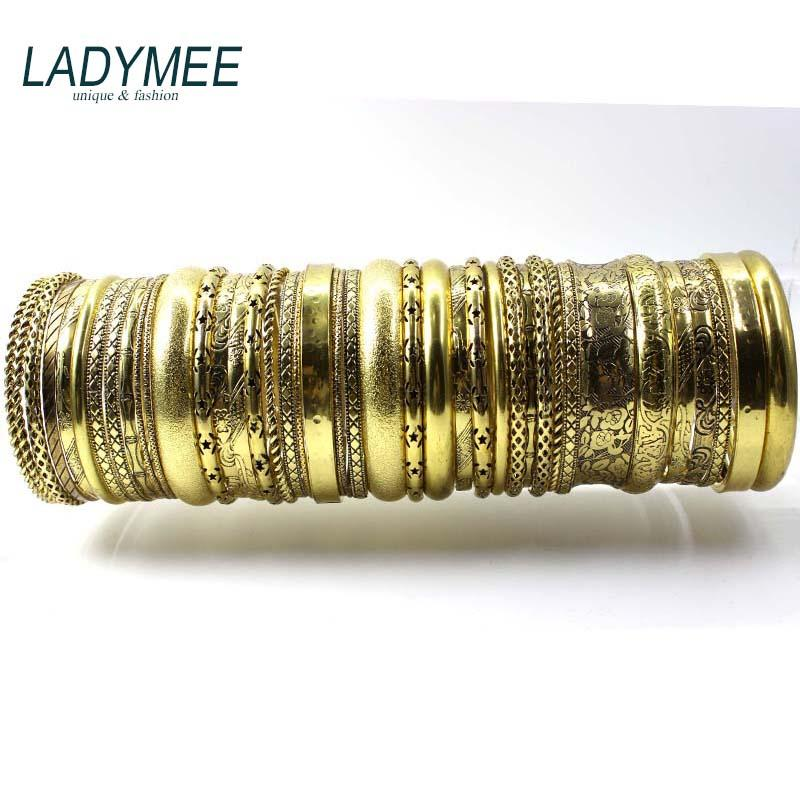 Gold Armreifen Armbänder für Frauen Indischen Schmuck Pulseiras Armband Jonc Clearance Bangle Armband Indiens Großhandel Mix 20 stücke