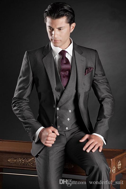 Custom Made Handsome Mens Wedding Suit Charcoal Grey 2015 Groom Tuxedos Mens Suit Two Buttons Groomsmen Suit Jacket+Pants+Tie+Vest+Hanky