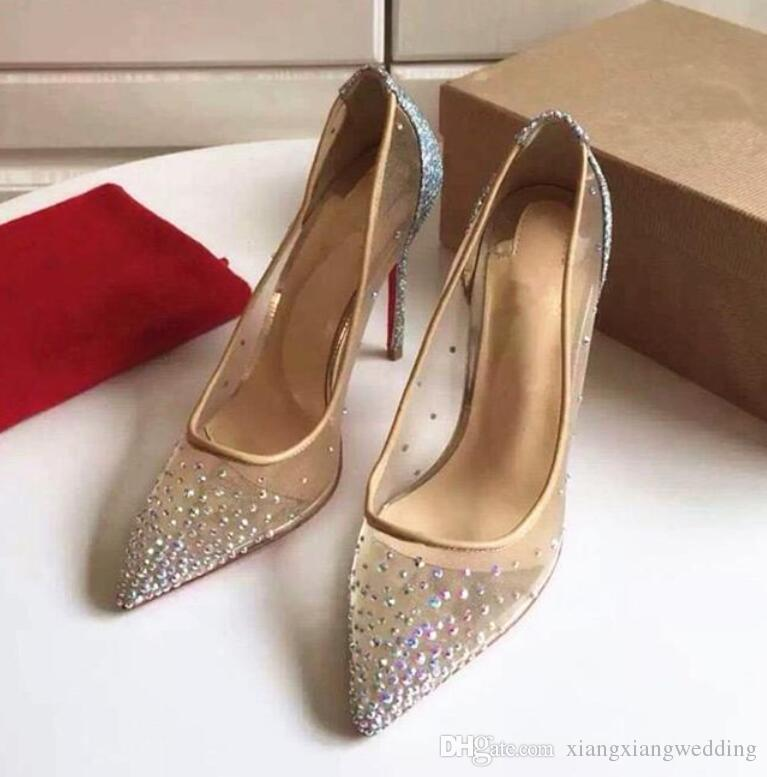 High Heels Rhinesto Wedding Shoes Women Genuine Leather