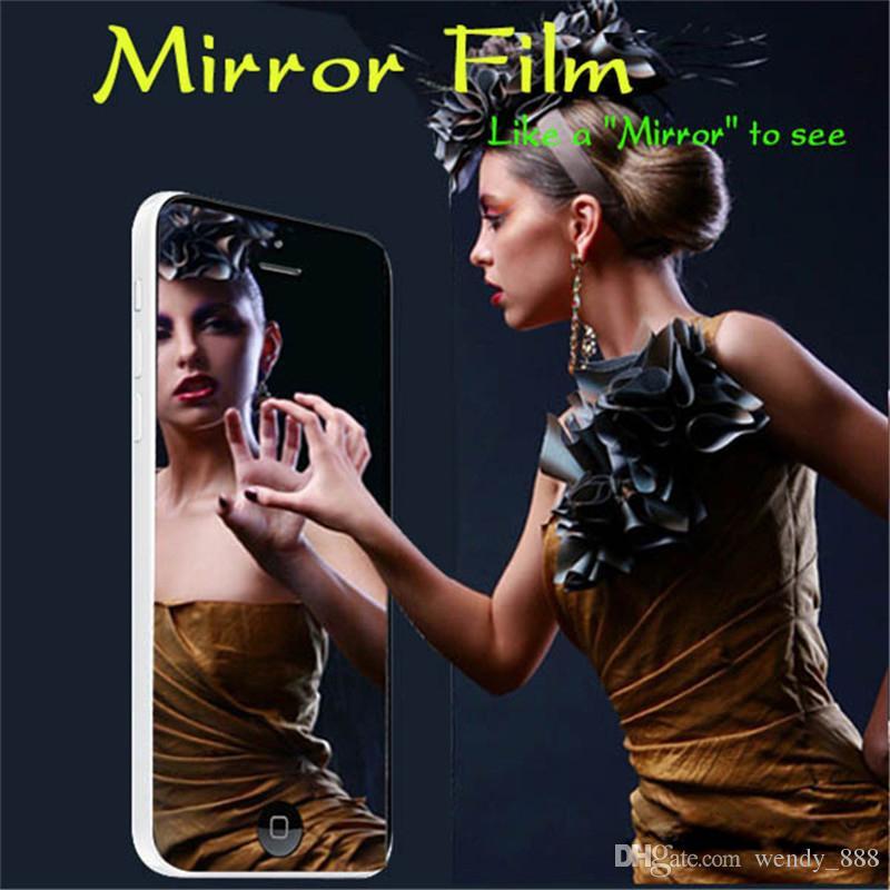 Miroir Protecteur D'écran Anti-Scratch LCD Avant Film De Protection Bouclier Pour iPhone 7 / 7plus / 6 / 6s / 6plus / 5 / 5s / SE / 4 / 4S + chiffon propre