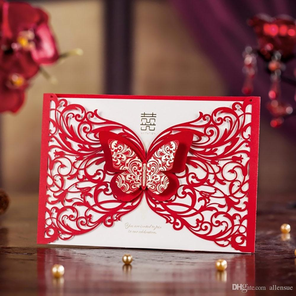 Engagement Red Laser Cut 3d Butterfly Wedding Invitations Elegant