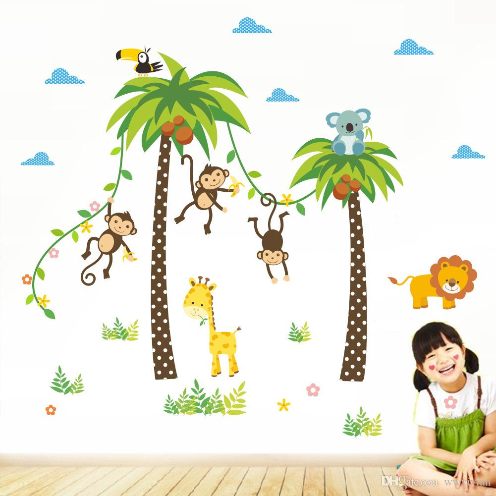 Cartoon Monkey Swing On The Coconut Tree Wall Stickers For Kids Babies Room Wall Decoration Cloud Grass Bird Elephant Giraffe Wall Mural Art Stickers