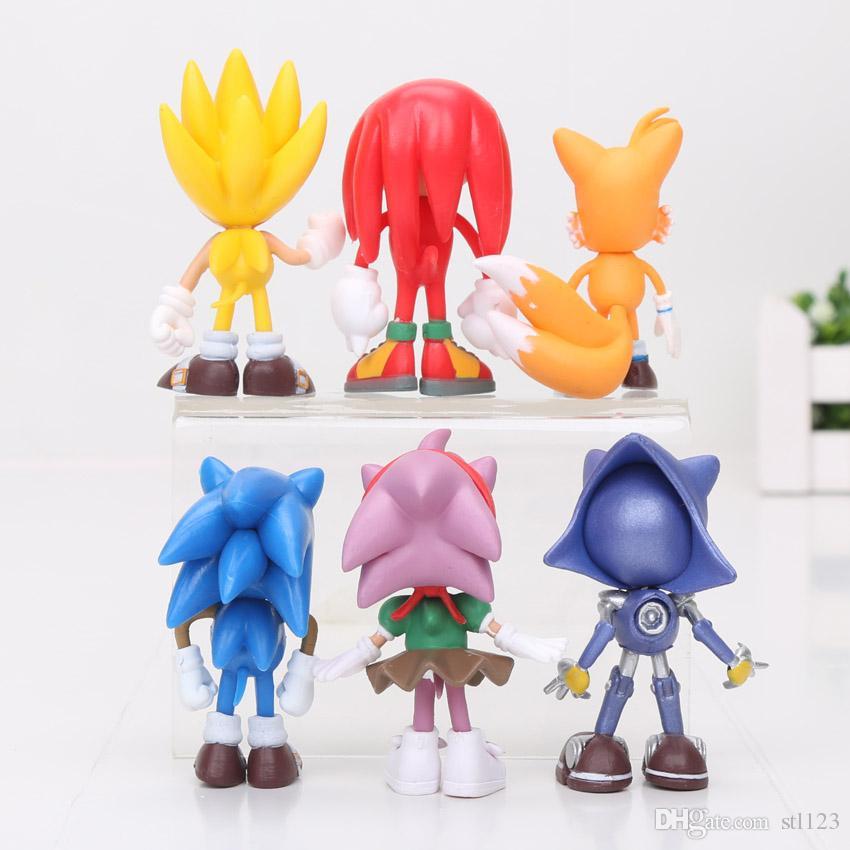 Spedizione gratuita 3 pollici 7 cm SEGA Sonic the Hedgehog Figure Toy giocattolo in PVC Sonic Personaggi figura giocattoli brinquedos Bambola 6 pz / set