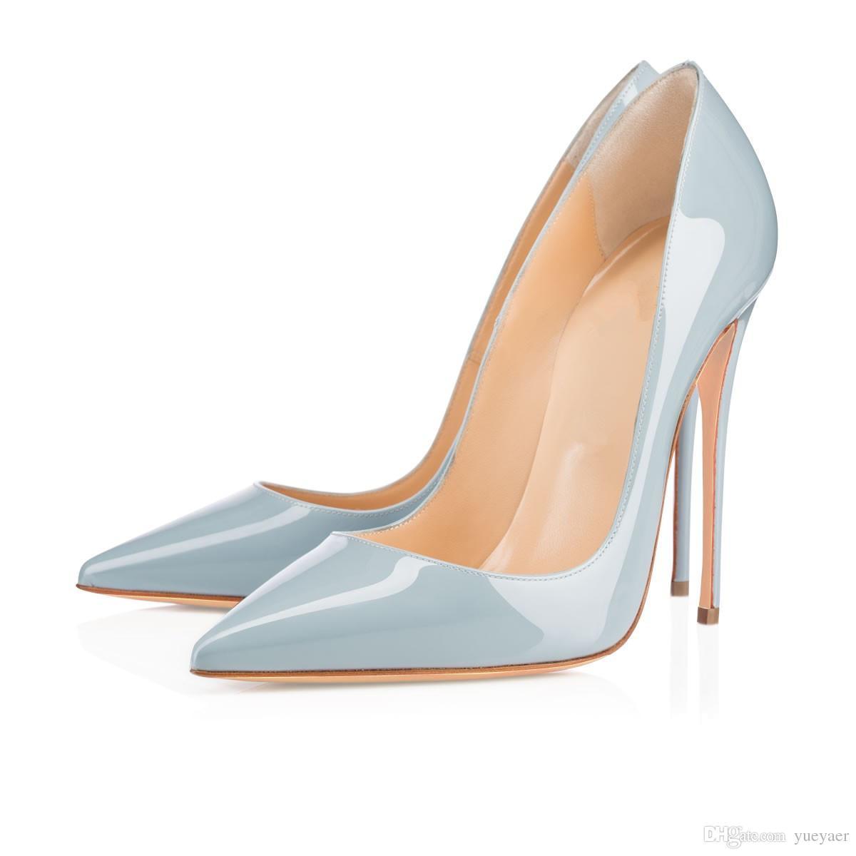 Zandina Bayanlar El Yapımı Moda ASO-kate 120mm Sivri Burun Klasik Parti Ince Topuk Pompaları Stiletto Ayakkabı Açık mavi
