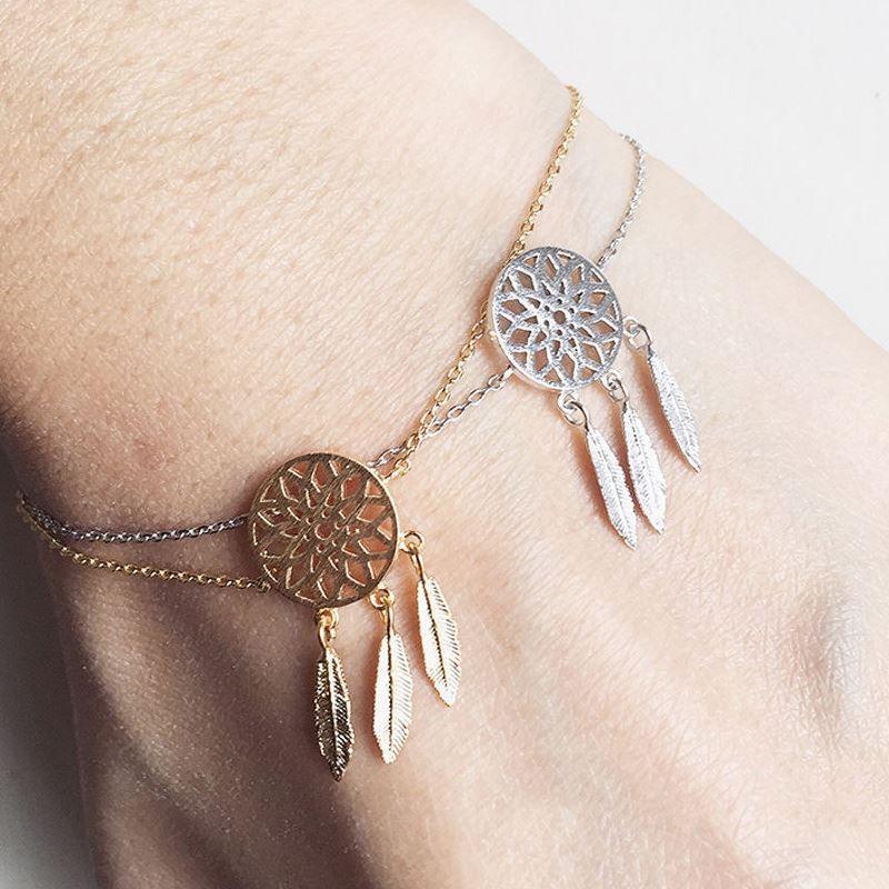 Pameng New Fashion Silver Color Dreamcatcher Charm Bracelets For Adorable Dream Catcher Gold Bracelet