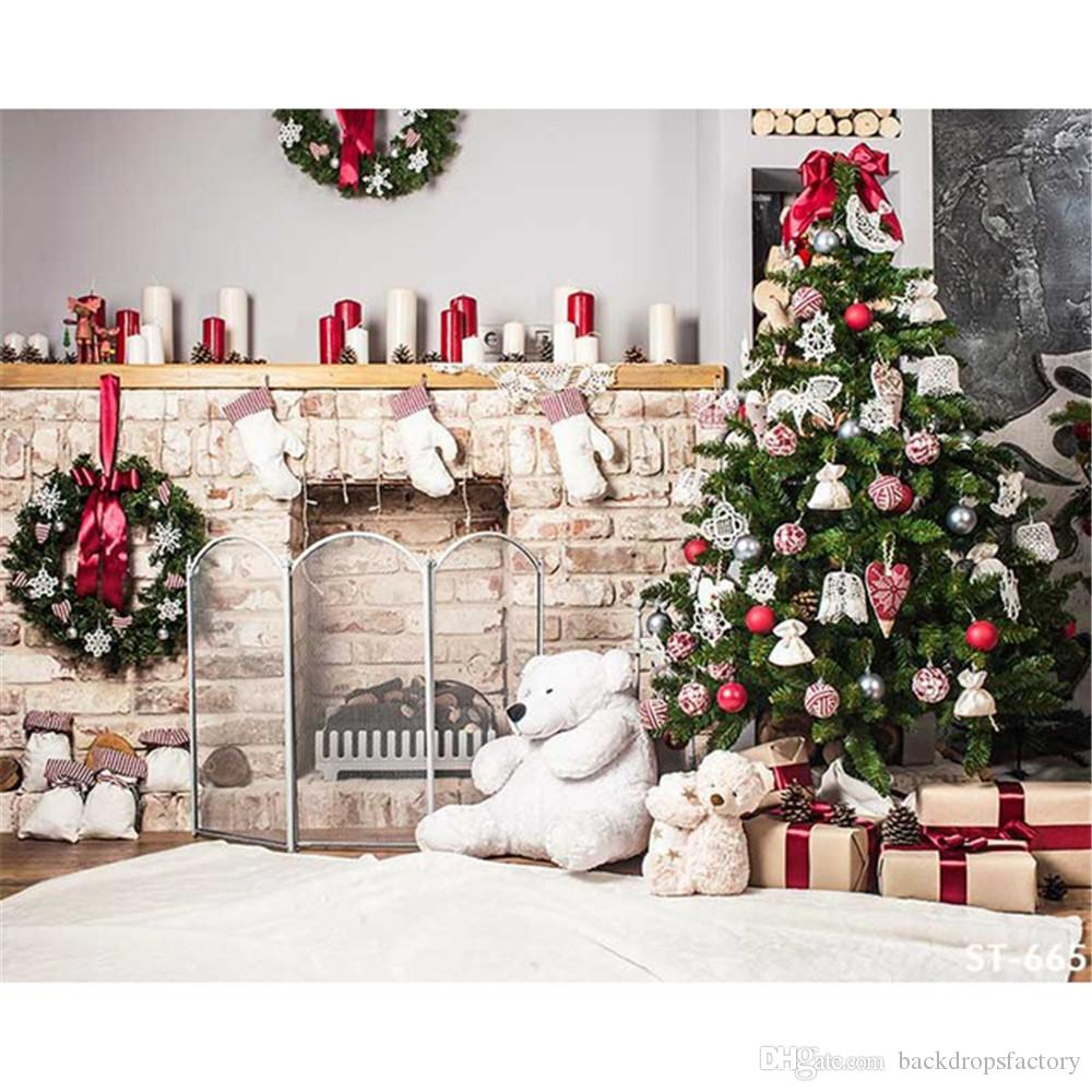 2018 indoor xmas party backdrops for photography decorated christmas tree garland toy bear home decoration family photo booth background 7x5ft from - Indoor Decorative Christmas Trees
