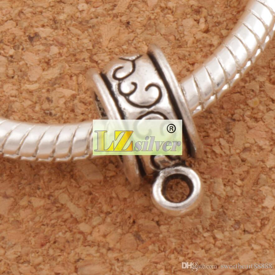 꽃 라운드 커넥터 펜 던 트 Bails 큰 구멍 비즈 / 골동품 실버 맞는 매력 유럽 팔찌 L736 12.9x6mm