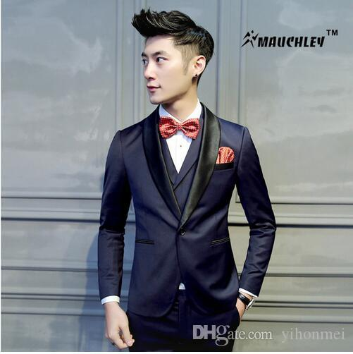 2018 2017 Latest Coat Pant Designs Tuxedo Mens Prom Suits Jacket+Pant Wedding Suit For Men Slim ...