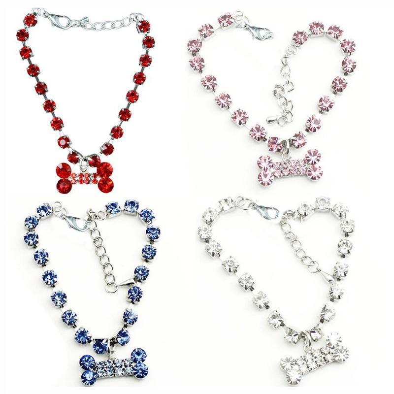 Pet Necklace Collar Dog Jewelry Fashion Crystal Diamante Bone Rhinestone Pendant for Puppy 3 Sizes