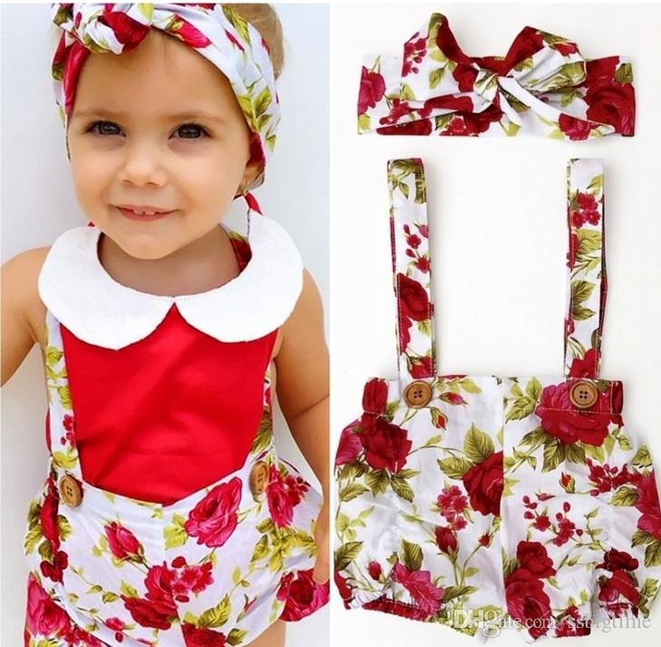 8ab1b36dc478 2017 Girls Baby Rompers Summer Sleeveless Toddler Romper Floral Cute ...