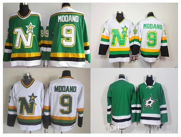 1e2edb47 ... Stitched NHL 2017 Dallas Stars 9 Mike Modano Ice Hockey Jerseys  Throwback Retro Team Color Green Alternate White ...